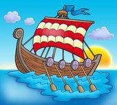 Viking boat on sea — Stock Photo
