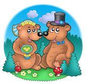 Wedding image with bears on meadow — Stock Photo