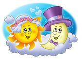 ślub obrazu słońca i księżyca — Zdjęcie stockowe