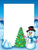 Winter frame with snowman and tree — Fotografia Stock