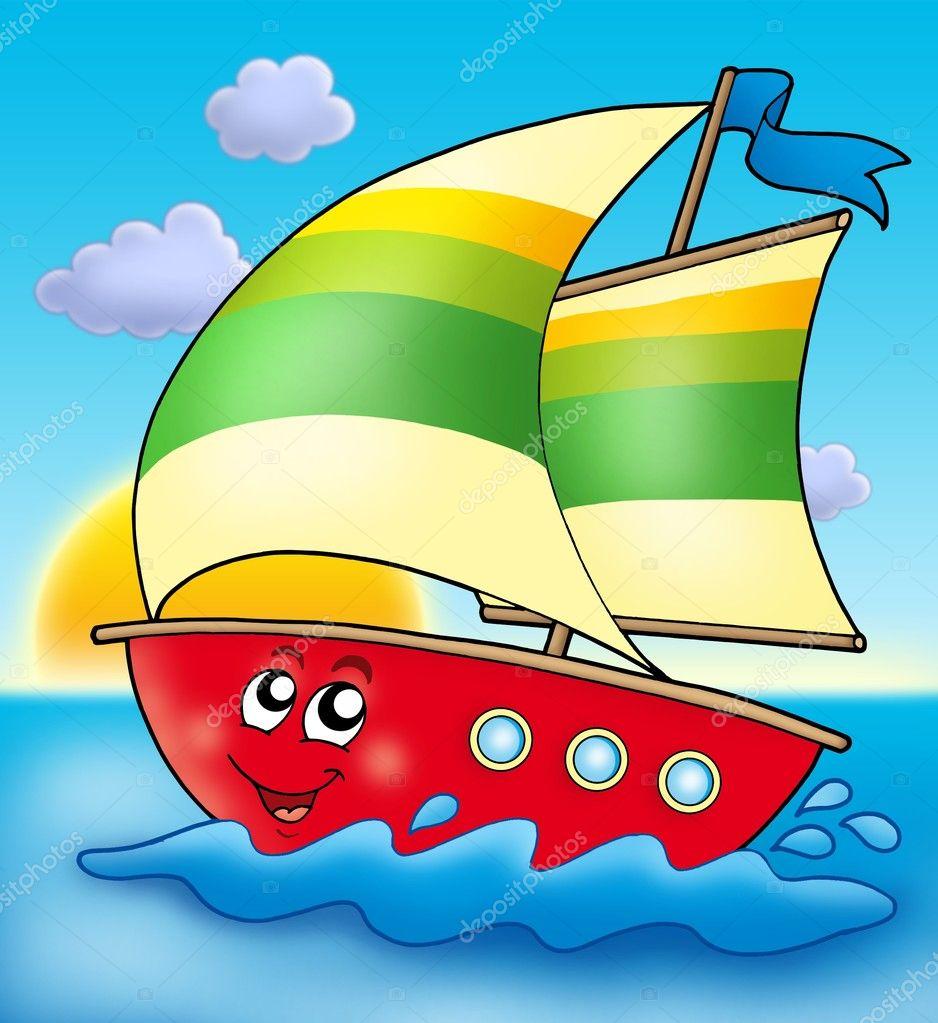 Barca a vela di cartone animato con tramonto — foto stock