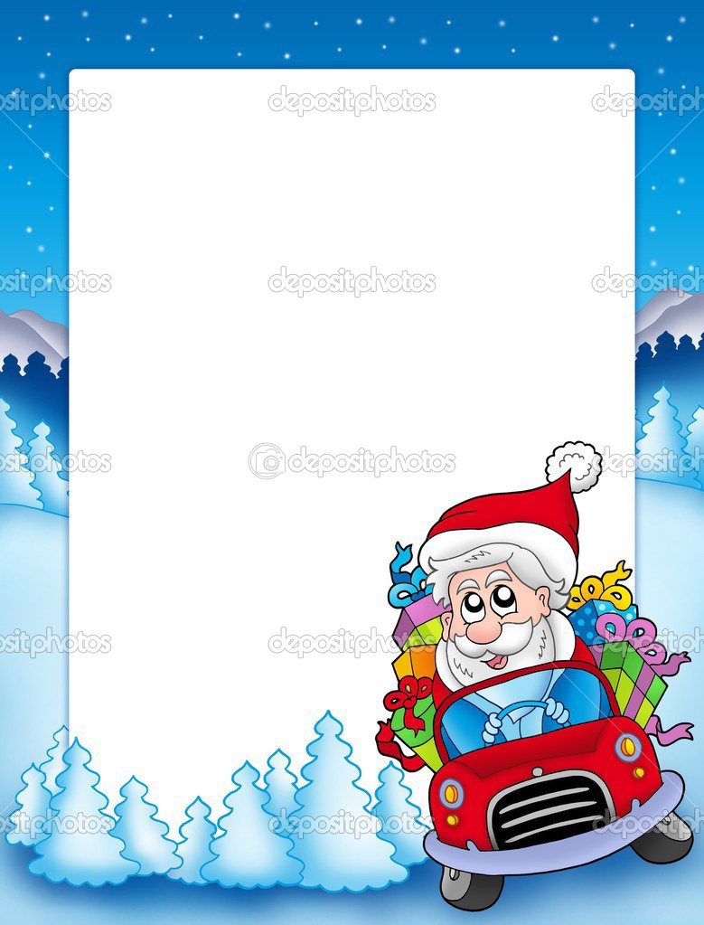 frame with santa claus driving car stock photo clairev. Black Bedroom Furniture Sets. Home Design Ideas