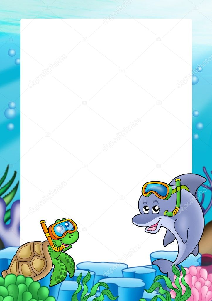 Frame with turtle and dolphin - color illustration.  Stock Photo #2940756