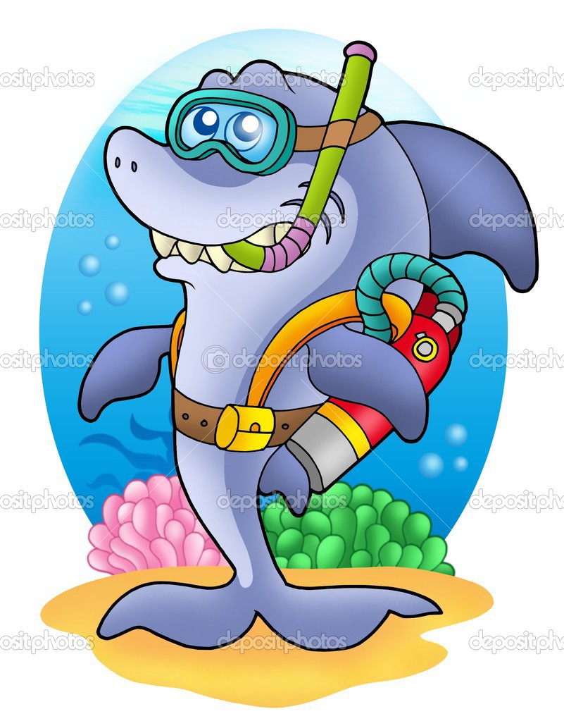 Shark scuba diver on sea bottom - color illustration. — Stock Photo #2942442