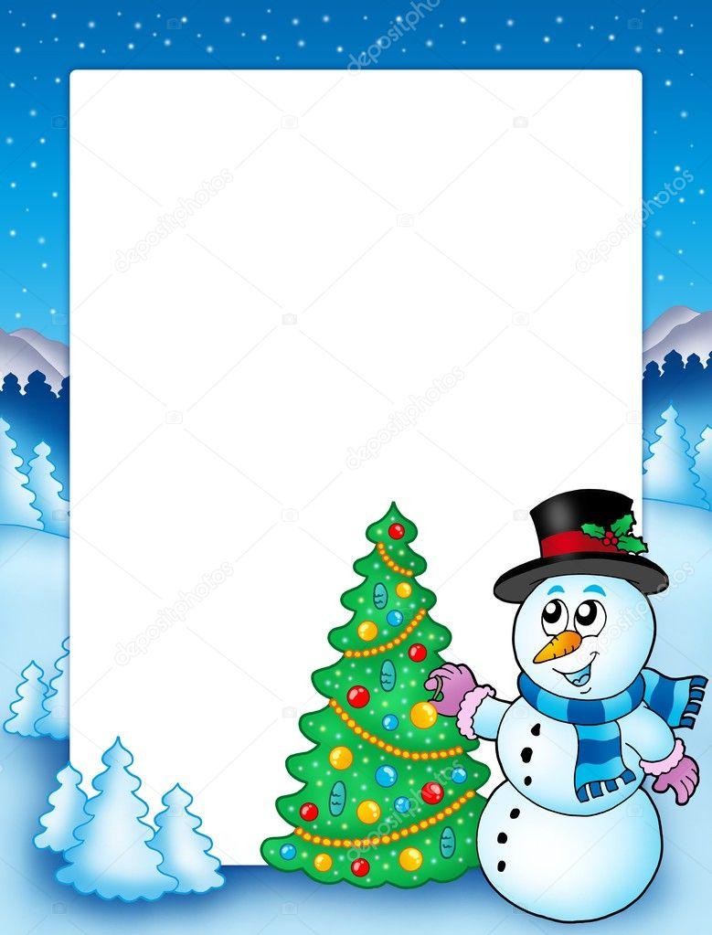 winterrahmen mit schneemann und baum � stockfoto