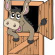 Cute donkey in stable — Stock Vector