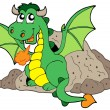 Cute dragon in cave - Stock Vector