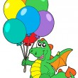 Cute dragon with balloons — Stock Vector