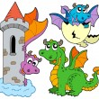 Cute dragons collection - Stock Vector