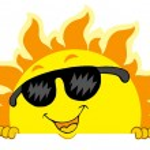 Cute lurking Sun with sunglasses — Stock Vector