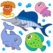 Cute marine animals collection 2 — Stock Vector