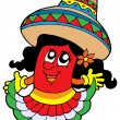 Cute Mexican chilli girl - Stock Vector