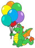 Cute dragon with balloons — Stock Vector