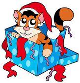 Cute Christmas cat — Stock Vector