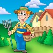 Cartoon farmer on garden — Stock Photo