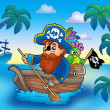 Cartoon pirate paddling in boat — Stock Photo