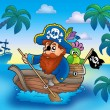 Stock Photo: Cartoon pirate paddling in boat