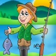 Cartoon fisherman with fish — Stock Photo
