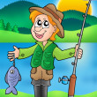 Cartoon fisherman with fish — Stock Photo #3040848