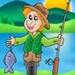 Cartoon fisherman with fish — Stock Photo