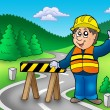 Construction worker standing on road — Stock Photo