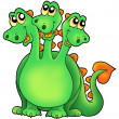 Royalty-Free Stock Photo: Green three headed dragon