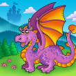 Giant purple dragon with old castle — Stock Photo