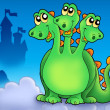 Green three headed dragon on sky — Stock Photo