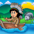 Native American Indian in boat — Photo