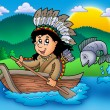 Native American Indian in boat — Stock Photo #3040900