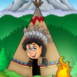Native American Indian in tepee — Photo