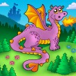 Stock Photo: Big purple dragon with old castle