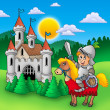 Knight on horse with old castle — Stock Photo