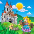 Princess on horse with castle - Stock Photo