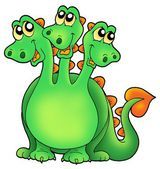 Green three headed dragon — Stock Photo