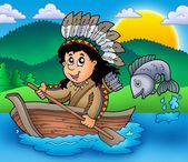 Native American Indian in boat — Stock Photo