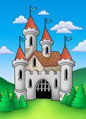 średniowiecznego zamku w krajobraz — Zdjęcie stockowe