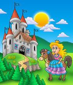 Princess on horse with castle — Stock Photo