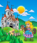 Princesa no cavalo com castelo — Fotografia Stock