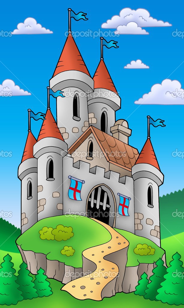 Medieval castle on hill - color illustration. — Stock Photo #3040891