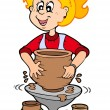 Royalty-Free Stock Vector Image: Cartoon pottery girl