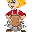 Cartoon pottery girl - Stock Vector