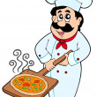 Chef holding pizza plate — Stock Vector
