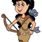 可爱的本机美国印第安女孩 — 图库矢量图片