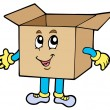 Cartoon cardboard box — Stock Vector