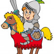 Cartoon knight sitting on horse - Stock Vector