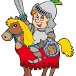 Cartoon knight sitting on horse — Stock Vector #3040552