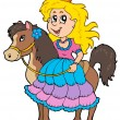 Cute princess riding horse — Stock Vector