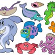 Ocean animals collection - Imagens vectoriais em stock