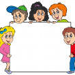 Stock Vector: Various kids holding board